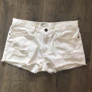 Current/Elliott White Boyfriend  Denim Shorts